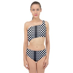 Art Optical Black White Contrast Spliced Up Two Piece Swimsuit