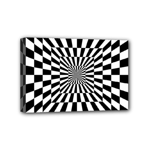 Optical Illusion Chessboard Tunnel Mini Canvas 6  X 4  (stretched)