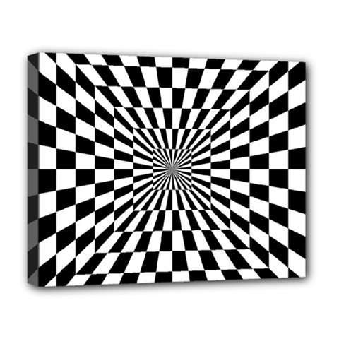 Optical Illusion Chessboard Tunnel Deluxe Canvas 20  X 16  (stretched)