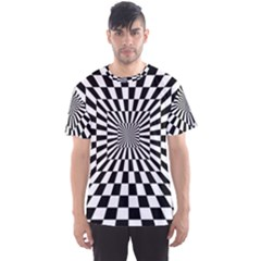Optical Illusion Chessboard Tunnel Men s Sports Mesh Tee