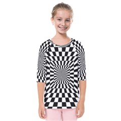 Optical Illusion Chessboard Tunnel Kids  Quarter Sleeve Raglan Tee