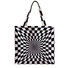 Optical Illusion Chessboard Tunnel Zipper Grocery Tote Bag