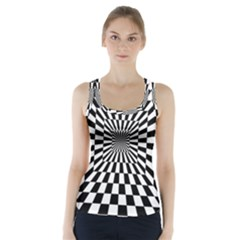 Optical Illusion Chessboard Tunnel Racer Back Sports Top