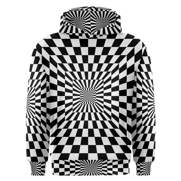 Optical Illusion Chessboard Tunnel Men s Overhead Hoodie
