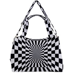 Optical Illusion Chessboard Tunnel Double Compartment Shoulder Bag