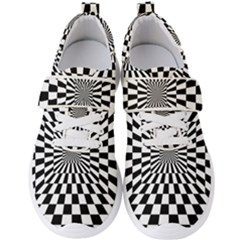 Optical Illusion Chessboard Tunnel Men s Velcro Strap Shoes