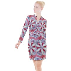 Kaleidoscope Background Bottles Button Long Sleeve Dress