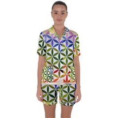 Mandala Rainbow Colorful Reiki Satin Short Sleeve Pyjamas Set