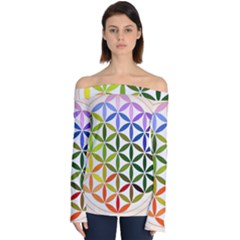 Mandala Rainbow Colorful Reiki Off Shoulder Long Sleeve Top by Pakrebo