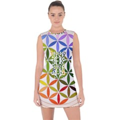 Mandala Rainbow Colorful Reiki Lace Up Front Bodycon Dress