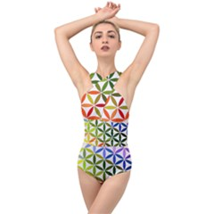Mandala Rainbow Colorful Reiki Cross Front Low Back Swimsuit