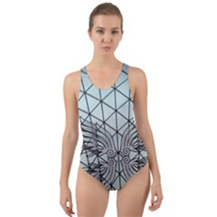 Graphic Pattern Wing Art Cut Out Back One Piece Swimsuit