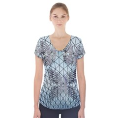 Graphic Pattern Wing Art Short Sleeve Front Detail Top
