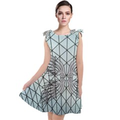 Graphic Pattern Wing Art Tie Up Tunic Dress