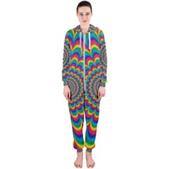 Psychedelic Colours Vibrant Rainbow Hooded Jumpsuit (ladies)