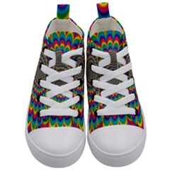 Psychedelic Colours Vibrant Rainbow Kids  Mid Top Canvas Sneakers