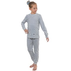 Illusion Form Shape Curve Design Kids  Long Sleeve Set