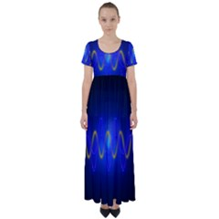 Light Shining Blue Frequency Sine High Waist Short Sleeve Maxi Dress by Pakrebo