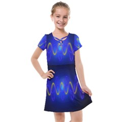 Light Shining Blue Frequency Sine Kids  Cross Web Dress