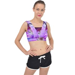 Clematis Structure Close Up Blossom V Back Sports Bra