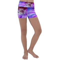 Clematis Structure Close Up Blossom Kids  Lightweight Velour Yoga Shorts