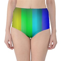 Lines Rainbow Colors Spectrum Color Classic High Waist Bikini Bottoms