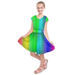 Lines Rainbow Colors Spectrum Color Kids  Short Sleeve Dress