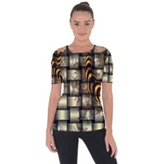 Graphics Abstraction The Illusion Shoulder Cut Out Short Sleeve Top