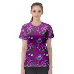 Flower Background Wallpaper Women s Sport Mesh Tee