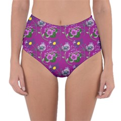Flower Background Wallpaper Reversible High Waist Bikini Bottoms