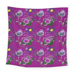 Flower Background Wallpaper Square Tapestry (large)