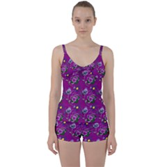 Flower Background Wallpaper Tie Front Two Piece Tankini