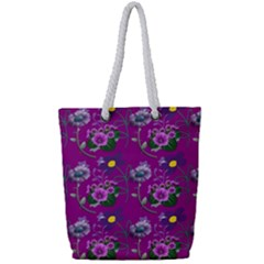 Flower Background Wallpaper Full Print Rope Handle Tote (small)