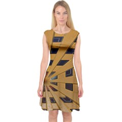 Graphics Assembly Transformation Capsleeve Midi Dress