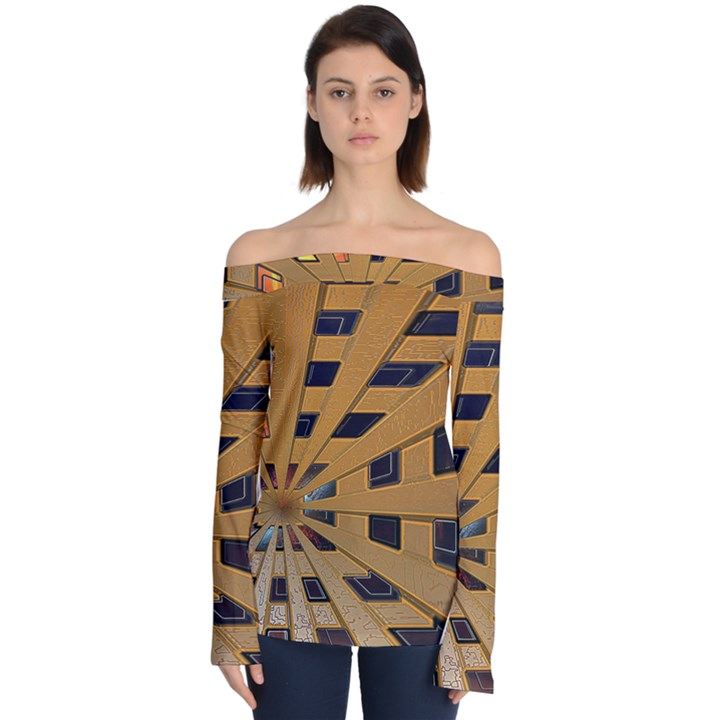 Graphics Assembly Transformation Off Shoulder Long Sleeve Top