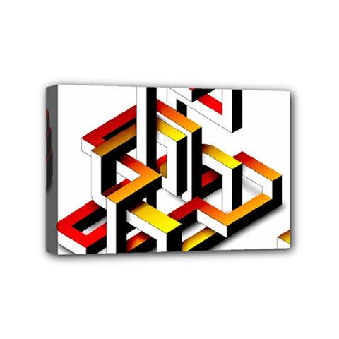 Maze Illusion Drawing Vector Mini Canvas 6  X 4  (stretched)