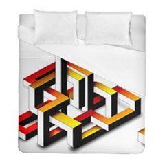 Maze Illusion Drawing Vector Duvet Cover (full/ Double Size)