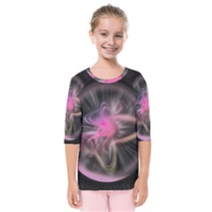 Stress Fractal Round Ball Light Kids  Quarter Sleeve Raglan Tee