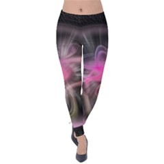 Stress Fractal Round Ball Light Velvet Leggings by Pakrebo
