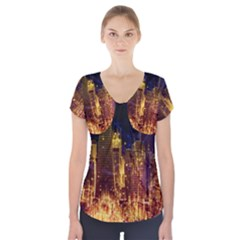 City View San Francisco Usa Short Sleeve Front Detail Top