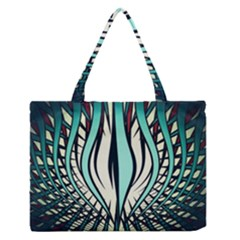 Retro Illusion Canvas Night Zipper Medium Tote Bag