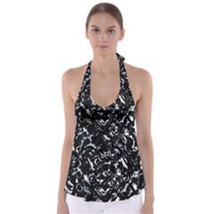 Dark Abstract Print Babydoll Tankini Top