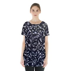 Dark Abstract Print Skirt Hem Sports Top by dflcprintsclothing