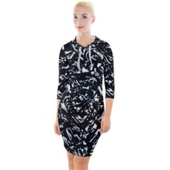 Dark Abstract Print Quarter Sleeve Hood Bodycon Dress