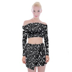 Dark Abstract Print Off Shoulder Top With Mini Skirt Set