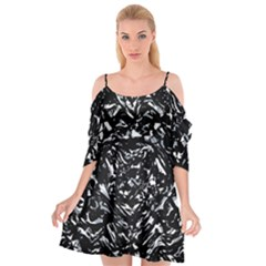 Dark Abstract Print Cutout Spaghetti Strap Chiffon Dress