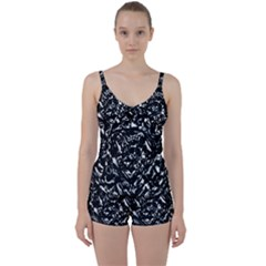 Dark Abstract Print Tie Front Two Piece Tankini