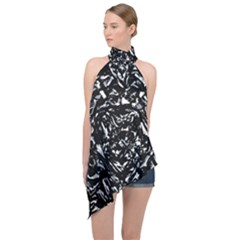 Dark Abstract Print Halter Asymmetric Satin Top