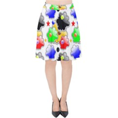 Pattern Background Wallpaper Design Velvet High Waist Skirt