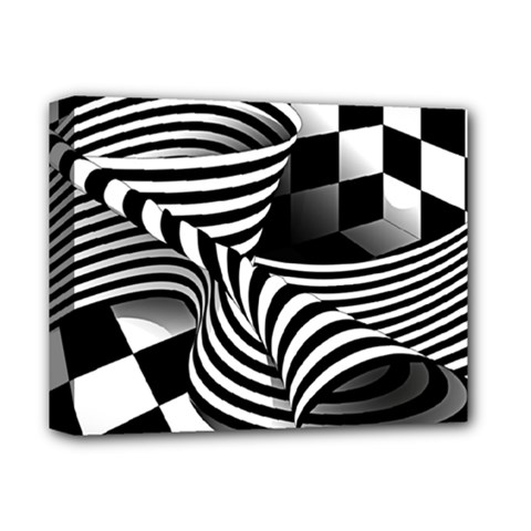 Op Art Black White Drawing Deluxe Canvas 14  X 11  (stretched) by Pakrebo